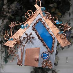 Winter Wonderland Fairy House - Stained Glass - Snowflake - Copper Steel Crystal - Mixed Media Assemblage on Etsy, $62.00