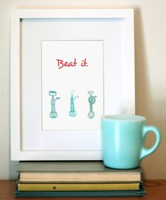 5x7 Retro Kitchen Art  Red and Aqua  Print Kitchen by FlourishCafe, $15.00 too cute!