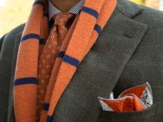 Orange, Green, and Grey |   Jacket: Brioni  Shirt: Proper Cloth  Tie: Brooks Brothers