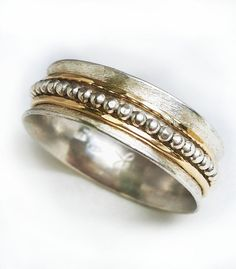 Men's rotating wedding ring sterling silver with one by ilanamir