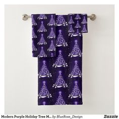 Modern Purple Holiday Tree Motif Bath Towel Set Bath Towel Sets, Bath Towels, Holiday Tree, Christmas Items, Holiday Outfits, Christmas Card Holders, Keep It Cleaner, Colorful Backgrounds, Party Supplies