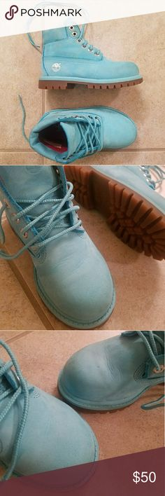 Timberland Limited Release Blue Leather Boots Limited Release Blue Hi Top Timberland's with Tan Soles with Original Box! Make an impression and have the most unique pair of Timberland Boots around town on your little one! Could be for a Boy or Girl to wear! Soles in Great Condition, has normal wear and tear! Please see photos! Size 10 Timberland Shoes Boots