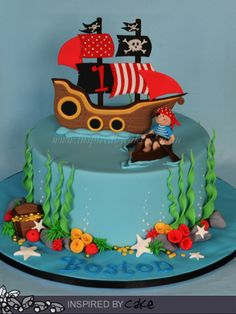 This cute Pirate themed cake was for a 1st Birthday. I love the way kids light up when they see the cake, Boston was asleep but his brother and sister just loved it!!!!  The flavour was a Jaffa Mud Cake (Choc/Orange) coated in a Rich Chocolate Ganache. Such a fun cake to finish the year on.