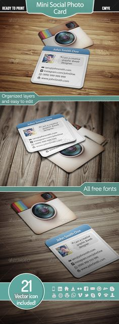 Mini Social Photo Card | Creative Business Card Template PSD. Download here: http://graphicriver.net/item/mini-social-photo-card/3414958?s_rank=182&ref=yinkira
