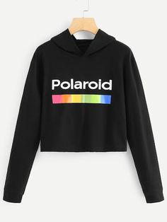 To find out about the Letter Print Hoodie at SHEIN, part of our latest Sweatshirts ready to shop online today! Hooded Sweatshirts, Hoodies, Cropped Hoodie, Direct To Garment Printer, Cute Outfits, Just For You, Lettering, Fashion Outfits, Clothes