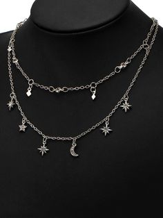 $4.75---Moon Star Charm Chain Necklace Set - SILVER