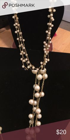 "Vintage String of Pearls gone 20's Its strung on gold thread they are from the 50""s but the type you would see in flapper days. its 60"" in a loop. Jewelry Necklaces"