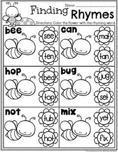 Looking for fun Rhyming Words for Kids Activities? We have 12 Awesome Rhyming Words Games and 25 Rhyming Words Worksheets that Kids will LOVE! Rhyming Worksheet, Rhyming Activities, Kids Learning Activities, Kindergarten Worksheets, Teaching Kids, Teaching Reading, Homeschool Kindergarten, Kindergarten Reading, Homeschooling