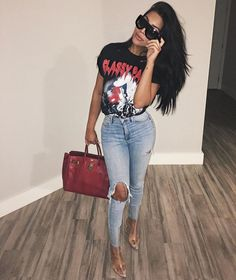 Timmy Timmy too turnt up  Hair: @HairByGuyLevi | Extensions: @SamGlamm  Glasses:@CelineWorld  T-Shirt: @ClassyParisOfficial Jeans: Custom Distressed by Me and Altered to fit  Handbag: @Hermes  Shoes: @PublicDesire