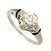 #132635 Art Deco Platinum Engagement Ring