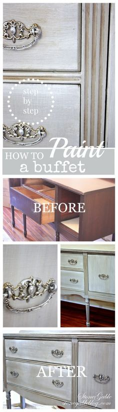 """HOW TO PAINT AN OLD BUFFET Step by step diy. Learn how to create a """"color wash""""."""