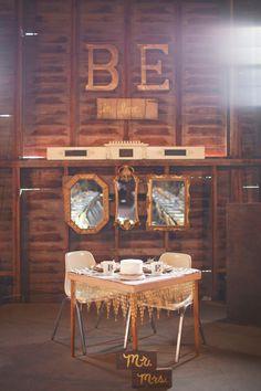 mr. + mrs. table // photo by Simply Rosie // View more: http://ruffledblog.com/intimate-minnesota-wedding/