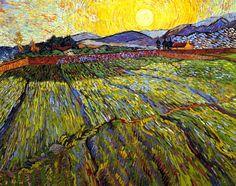 Vincent Van Gogh - Post Impressionism - Saint REMY - Paysage avec champs labourés.