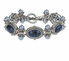 Barbara Bixby Sterling/18K Sodalite & Cultured Pearl Bracelet