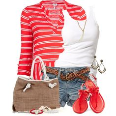 """Hoop Earrrings & Flip Flops"" by tufootballmom on Polyvore"