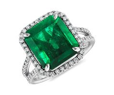 yep, I'd be happy with this one too! Emerald Cut Emerald and Micropavé Diamond Ring (6.28 ct.) | Blue Nile