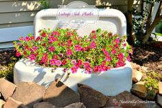 repurposed sink planter garden decor