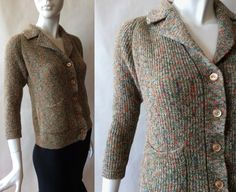 Early 1960's wool boucle knit cardigan in by afterglowvintage