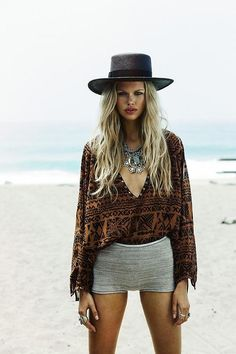 Sexy tribal print ethnic inspired top with chunky gypsy necklace for a modern hippie edge.  For the BEST Bohemian fashion trends FOLLOW>> https://www.pinterest.com/happygolicky/the-best-boho-chic-fashion-bohemian-jewelry-gypsy-/<< now.