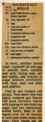 Rhubarb Nut Bread :: Historic Recipe Rhubarb Nut Bread, Rhubarb Dishes, Rhubarb Desserts, Rhubarb Cake, Rhubarb Recipes, Banana Bread Recipes, Cooking Rhubarb, Retro Recipes, Vintage Recipes