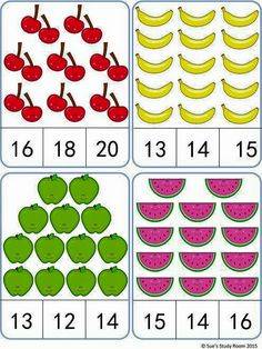 Fruit Count and Clip Cards: Numbers by Sue's Study Room Kindergarten Math Worksheets, Preschool Learning, Teaching Math, Preschool Activities, English Worksheets For Kids, Kids Worksheets, Montessori Math, Math Numbers, Math For Kids