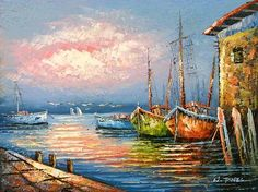 Paintings of Boats in Harbor   Old Spanish Harbor - Boats, oil paintings on canvas.