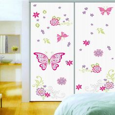 * flower big butterflies wall stickers living room bedroom TV sofa background DIY home decals mural art pvc removable poster #Affiliate