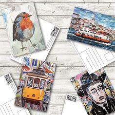 Kids Collage, Collage Artwork, Robin Bird, Lisbon, Envelopes, Postcards, Boats, Portugal, Landscapes