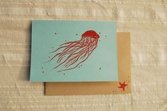 Hand block printed Jellyfish card. $4.50, via Etsy.
