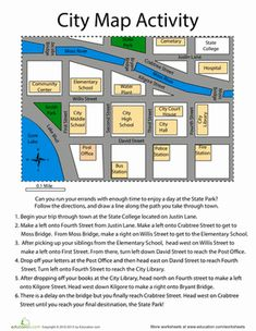 Third Grade Mapping and Directions Worksheets: City Map