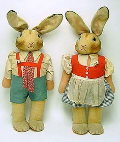 Vintage Steiff bunnies # Bunny Rabbit Stuffed Toys- So cute in German Clothes