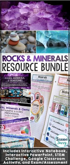 All youll ever need for a unit on the Rocks & Minerals! :) Contains Interactive Notebook, PowerPoint, Assessment, STEM Science Lesson Plans, Science Resources, Science Lessons, Life Science, Earth Science, Science Ideas, Science Projects, Science Experiments, 6th Grade Activities