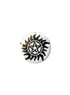 "Small pinback button from <i>Supernatural</i> with Anti-possession symbol design.<ul><li> 1 1/4"" diameter</li><li>Made in USA</li></ul>"