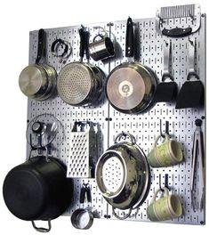 Kitchen Pegboard Organizer Kit Pots & Pans Rack - Metallic Pegboard with Hooks
