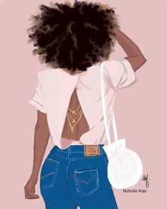 "2,317 Likes, 40 Comments - Nicholle Kobi עמנואל יהוה (@nichollekobi) on Instagram: ""When you are in love with your back  #nichollekobi #blackwomanart #illustrations"""