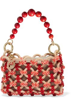 Rosantica Orione Beaded Tote In Orange Novelty Handbags, Straw Handbags, Beaded Purses, Beaded Bags, Wooden Hoop, Wooden Beads, Drawstring Pouch, Bucket Bag, Handmade