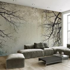 Nordic Vintage Style Tree Branches Wall Mural - 1 ㎡