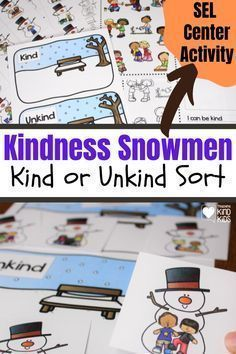 Use this Kindness Snowmen Kind or Unkind Sort from Coffee and Carpool to help students determine what is kind and what is not during this SEL center activity. Find this cute activity to help have fun learning about kindness. Educational Activities, Activities For Kids, Cute Snowman, Snowmen, Boredom Busters For Kids, Kindness Challenge, Kindness Activities, School Readiness, Kids Hands