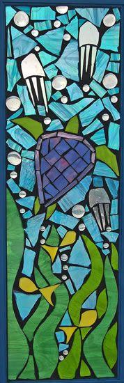 Turtle Mosaic Stained Glass Window Blue   Grey Dog Studio