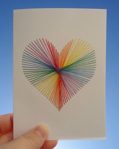 rainbow string heart craft #DIY