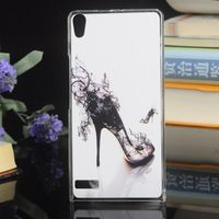 newest luxury high-end accessories colored painting plastic brand hard case cover for HUAWEI Ascend P6 transparent side