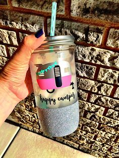 Happy Camper Mason Jar Glamping TumblerGlitter by SipSoSweet