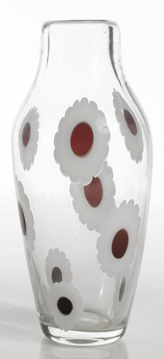 "Fulvio Bianconi - A rare ""Marghuerite"" Vase, 1951, with firm acid-etched mark, glass, internally decorated with floral-shaped murrina. Height: 13 5/8"" (34.6cm)  