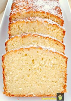 Moist Coconut Pound / Loaf Cake - Light, soft, and oh sooooo delicious! This a great cake nice and moist. Just Desserts, Delicious Desserts, Dessert Recipes, Yummy Food, Recipes Dinner, Breakfast Recipes, Healthy Food, Healthy Eating, Coconut Pound Cakes