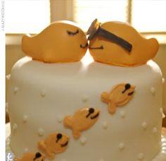 Goldfish themed wedding cake.