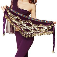 Pilot-trade Women's Triangular Belly Dancing Hip Scarf Wrap Skirt with Gold Coins - Purple One Size Belly Dance Scarf, Sherlock Scarf, Boho Fashion, Autumn Fashion, Mens Cashmere Scarf, Fall Scarves, Pashmina Scarf, Square Scarf, Dance Dresses