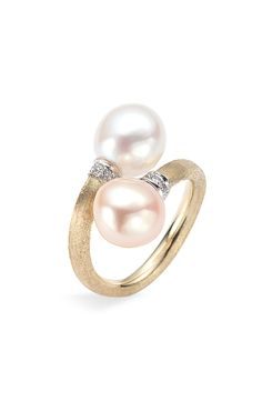 Free shipping and returns on Marco Bicego Pearl & Diamond Gold Ring at Nordstrom.com. Slender, hand-engraved band of 18-karat gold ends in freshwater pearl caps set in a beautiful collar of diamond pavé.