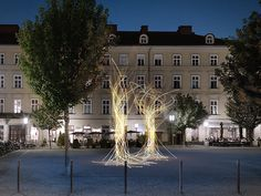 The tree in its natural form and with its attached elements – roots, trunk, branch and leaf – is redeveloped as an abstracted art object. Tree Lighting, Natural Forms, Abstract Art, Sculptures, Mansions, House Styles, Nature, Sculpture, Luxury Houses