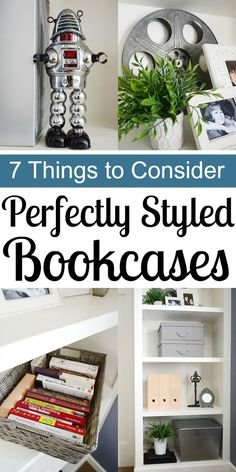 How to Perfectly Style Bookcases - 7 Things to Consider. I love the use of baskets to contain bright colored books. Diy House Projects, Cool Diy Projects, Decorating On A Budget, Interior Decorating, Interior Design, Entertainment Center, Home Organization, Bookshelves, Ladder Decor