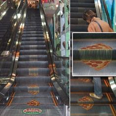 Pizza Kingdom used the escalator in front of their restaurant to advertise their new pizza with more cheese